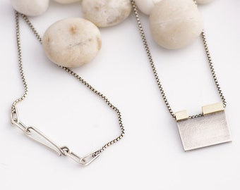 Keeping It Simple Silver and Brass Geometric and Minimalist Necklace