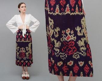 SALE 90s Skirt Native IKAT Skirt Woven Cotton Blanket Skirt, High Waist Skirt, 70s Boho Wrap Skirt Dark Purple Small S