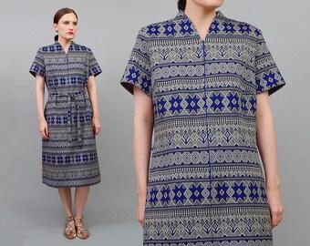 60s Knit Dress Fairisle Tribal Striped Dress Short Sleeve 1960s Mod Knit Shift Dress Tie Belt Blue Black White Medium Large M L