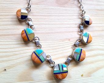 SUPER SALE... Stunning Native American Inlaid Multi Gemstone Circles Necklace. ZUNI. Navajo necklace. Navajo Sterling. Inlaid Necklace 925