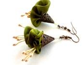 Festive silk flower earrings, her gift flower earrings, elegant light flower earrings, olive fabric flower earrings