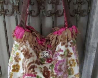 Vintage Velvet Chenille Carpet Bag