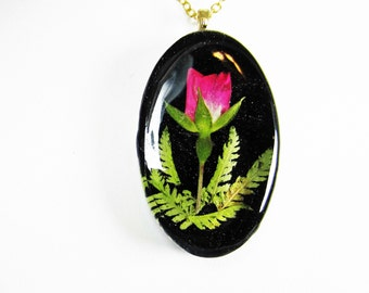 Pink Rosebud, Pressed Flower Jewelry, Real Flowers, Necklace,  Resin (1959)