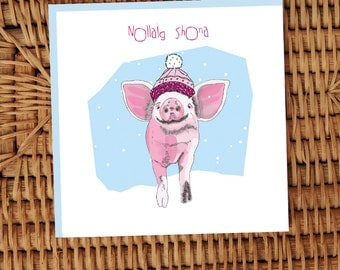 Nollaig Shona Little piggy with wooly hat Irish language greeting card