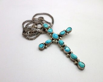 Vintage Native American Style Sterling Silver and Turquoise Nugget Cross Pendant Necklace Large Size