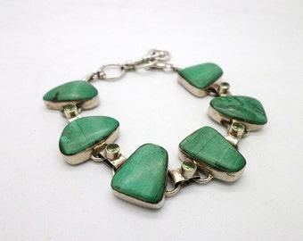 Vintage Sterling Silver Light Green Malachite Stone and Peridot Bracelet