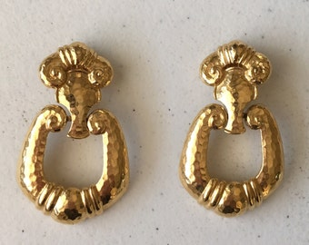 BARRERA for AVON Chunky Dangle Earrings, Door Knocker Clip Earrings, Gold Statement Earrings, Signed