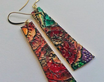 Polymer Clay Earrings, Jewel Palette. Emily's Rose.  Dangle and shimmer. Super Lightweight