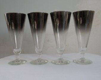 4  Vintage Champagne  Flute Glasses Hollywood Regency   Silver Rimmed Fade Ombre   Mad Men Chic