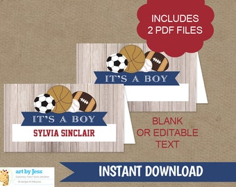 Rustic Sports Food Tent Cards or Buffet Labels, Printable File with Editable Text or Blank, INSTANT DOWNLOAD bs-060