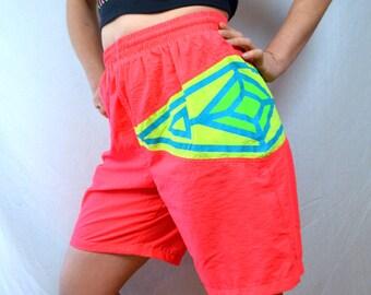 Vintage 80s Neon Orange Summer Jams Shorts