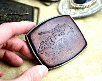 Vintage Tooled Leather Buckle - Tank