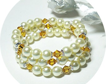 Ivory and Yellow Bracelet, Memory Wire, Bridesmaid Jewelry, Bridesmaid Gift, Pearl Bracelet, Pearl and Crystal, Bridal Accessories, Topaz