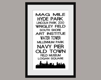 Chicago Subway Scroll - Bus Roll - Poster Print - Skyline - Vintage - White
