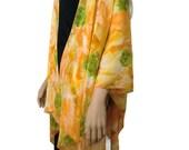 Boho Kimono cardigan - Sunny Yellow orange and green floral chiffon kimono-Ruana-Many colors