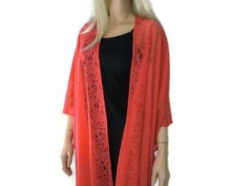 Red Bohemian Lace Kimono -Soft watermelon red-Fringe kimono cardigan-Oversize kimono