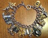 Upcycled Vintage Western Themed Silver Charm Bracelet
