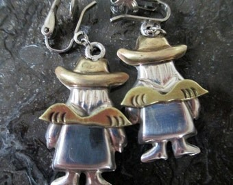 Cowboy Angel Earrings, Clip Earrings, 925 Mexico, 925 Silver, Silver and Brass, free usa domestic shipping