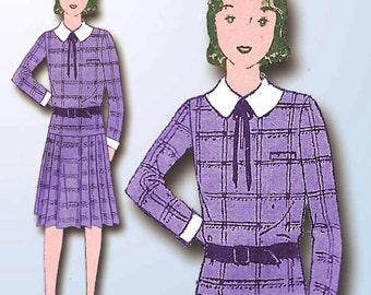 1930s Vintage Butterick Sewing Pattern 4042 Junior Girls Flapper Dress Size 31 B
