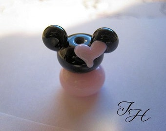 Mouse Ears  Pink Heart Girl Focal Handmade glass lampwork beads set by TH
