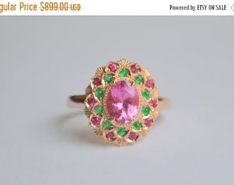 SALE Oval Camellia Ring with Pink Tourmaline, Emerald and Ruby in 14 K Rose Gold