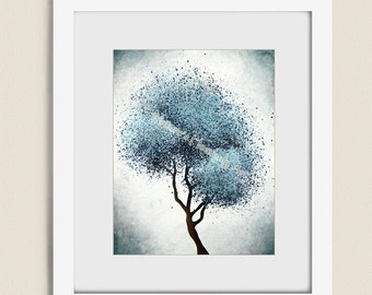 11 x 14  Abstract Tree Wall Art Blue Home Decor, Light Blue Wall Decor, Living Room Art, Bedroom Wall Art, Tree Print  (302)