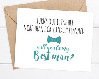 Funny Best Man Card, Funny Groomsman, Best Man Card, Groomsman Card, Wedding Card, Will You Be My, Best Man, Groomsman, Greeting Card