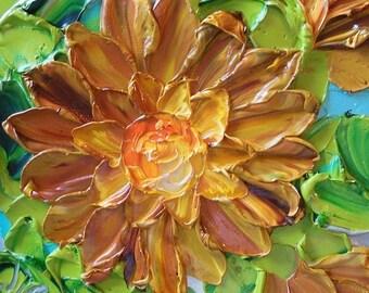 Impasto Oil Painting, Original Oil Painting , Fall Dahlias