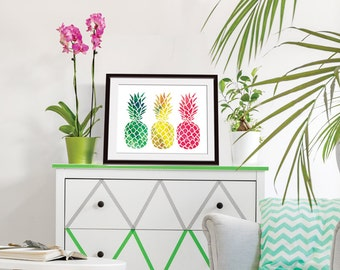 Island Impressions 3 Pineapples - Art Print (Featured in Splashes of Green, Yellow, Pink) Tropical Island Art Decor Print / Poster