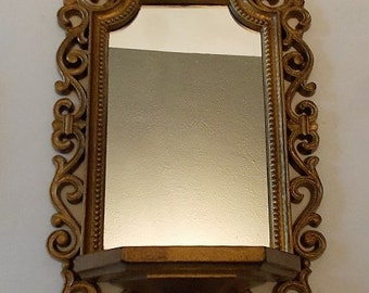 Ornate Syrocco Style Gold Painted Framed Mirror And Shelf, 1970, Mold Frame Mirror, Dart Industries, Fleur De Lis Style Frame, Hall Mirror