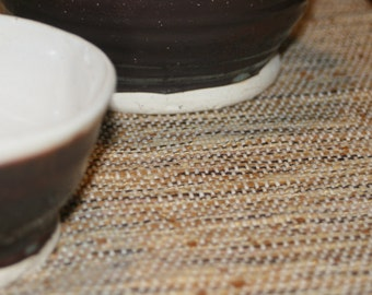 Cinnamon Toast Placemats / Set of 5 Handwoven Placemats in Cream and Brown
