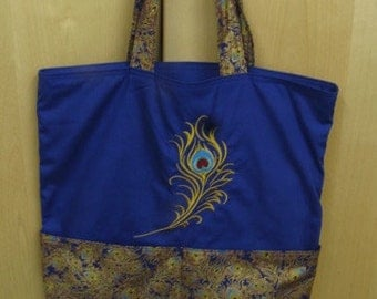 Elegant Golden Peacock Plume Tote Bag Shopping Bag Diaper Bag
