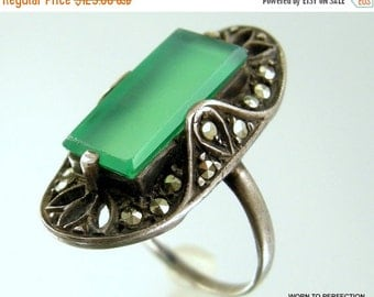 30% Off Sale Antique Sterling Silver and Chrysoprase and Marcasite Art Deco Ring 1920s Size 6 1/2