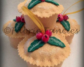 Felt life sized scented and glittered  mince pie christmas tree ornament decoration