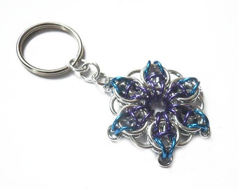 Star key chain, Turquoise, purple, and silver star, Small blue and purple star key ring, Celtic Visions Star chainmaille weave