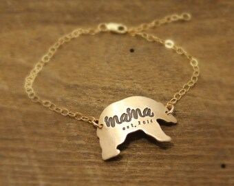 Mama Bear Bracelet, Momma Bear Bracelet, Warrior Bracelet, Bronze, Mom bracelet, gift for new mom, mother gift, goldtone, tagyoureitjewelry