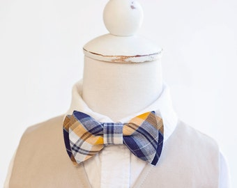 Bow Tie, Navy and Yellow Organic Madras Plaid , Bow Ties, Boys Bow Ties, Baby Bow Ties, Bowtie, Bowties, Ring Bearer, Bow ties For Boys