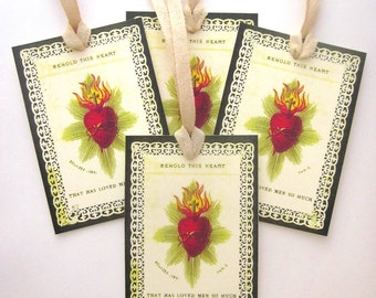 French Holy Card Religious Gift Tag Handmade Holiday Gift Tag Sacred Heart