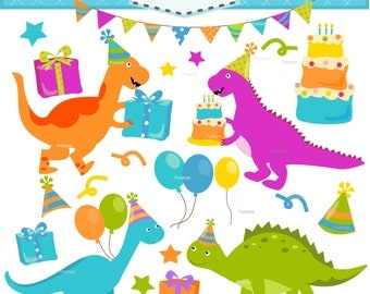 ON SALE dinosaur clip art - birthday clipart, Digital clip art, Birthday dinosaur,party dino clip art, bunting clip art