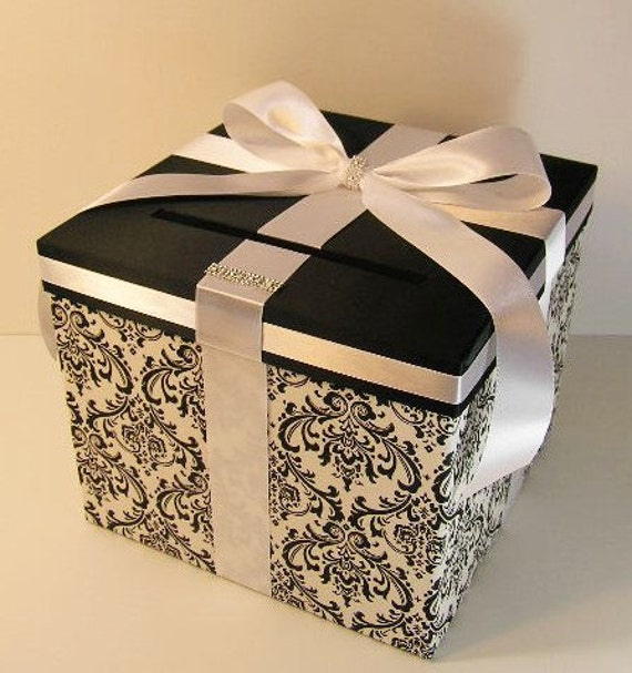 Wedding  Card Box Damask and White (Black) Gift Card Box Money Box Holder-Customize/made to order (10x10x9)