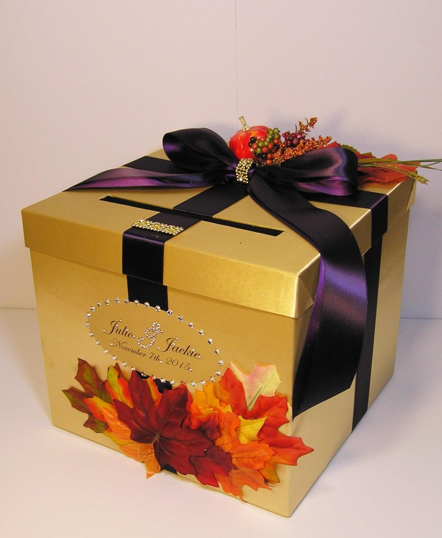 Fall Wedding Gift Card Box : Wedding Card Box Fall Gift Card Box Gold and Purple Money Box