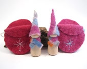 Pink Winter Snowflake Gnome, Wooden Peg Doll