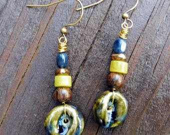 Olive Green Earrings - Handmade Ceramic Discs, Serpentine Beads, Stacked Dangle Earrings