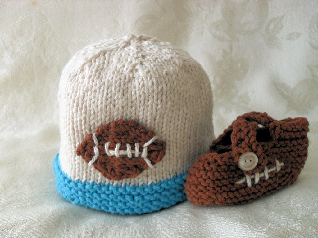 Knit Pattern Baby Football Hat : Knit Baby Hat Knitting Hand Knitted Baby Football Beanie Super