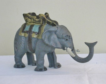 Vintage Cast Iron Elephant Coin Bank, Collectible Mechanical Animal