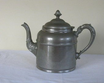 Antique Rochester Stamping Works Coffee Pot, Elaborate Handle and Spout, Decorative Knob, Victorian Silver Metal Pewter Kitchenware