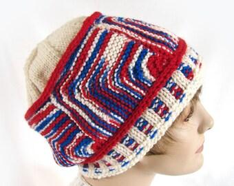 Women's Knit Hat Red White Blue Knit Hat Woman's Winter Hat Girl's Winter Hat Knit Module Winter Hat Woman's Knit Hat Girl's Knit Hat