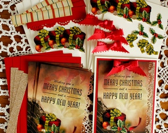Hand Made Hatbox and Holly Red & Gold Christmas Card Kit - 4 cards