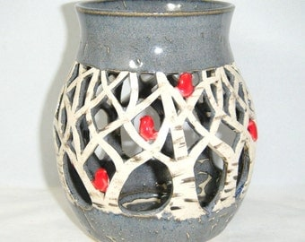Red Bird Luminary White Birch Trees Cardinal Candle Holder Winter Gray
