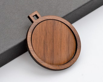 "1.5"" Embroidery Hoop Round Circle Pendants with Square Connector Large 38mm Laser Cut from Walnut Wood EHPCIR-S-38-W"